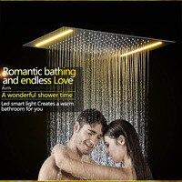 Электрический led потолочные встраиваемые осадков Насадки для душа 304sus 36*50 см Аксессуары для ванной комнаты душ Верхний душ Панель
