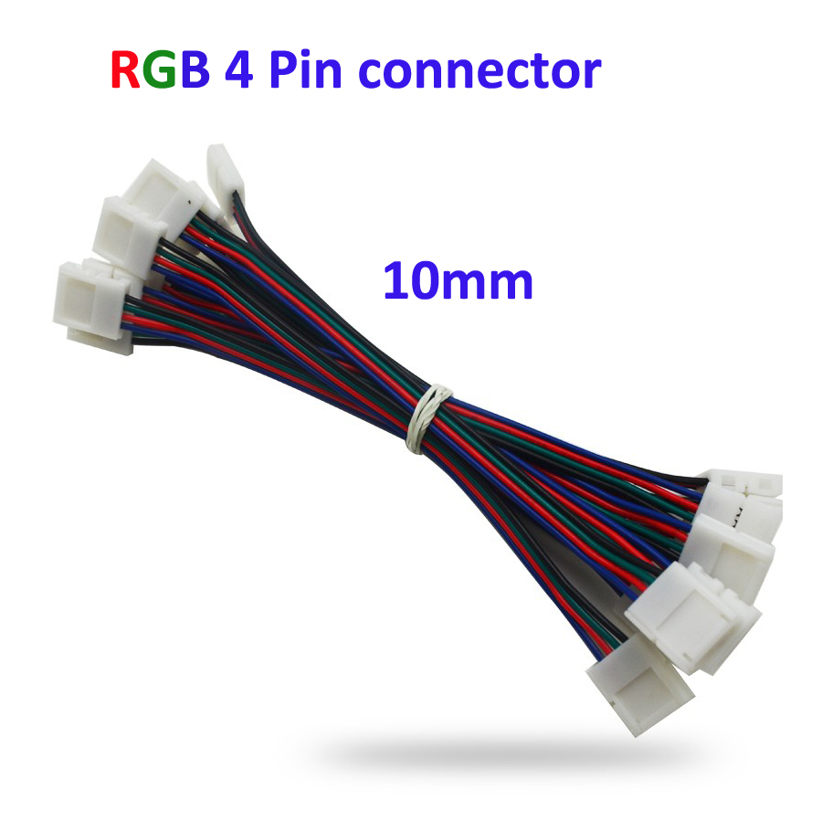 10pcs  4pin RGB Led Strip No Soldering Double Connector Clip Cable Led Tape Extension Wire For 5050 RGB Strip light 10pcs rgb led strip connector 4 pin for 5050 strips wac20