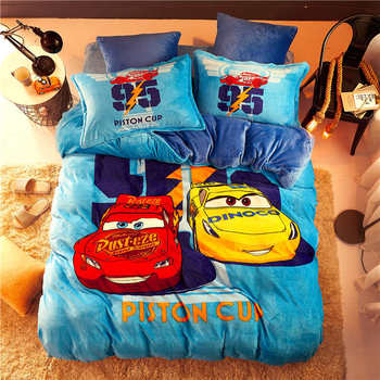 Disney flannel fleece McQueen Cars comforter bedding set queen size quilt cover twin Kids 3d full bed linen soft coverlet Boys