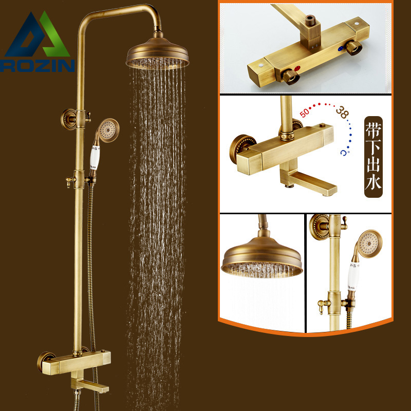 Good Quality Dual Handle Thermostatic Mixer Valve Shower Faucet 8 Rainfall Tub Spout Shower Mixers with Handshower