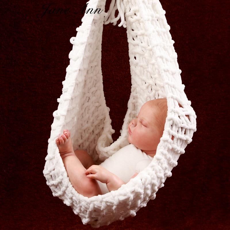 Jane Z AnnCrochet Babyvit hängmattafotografi Props Strikkad nyfödd spädbarnsdräkt Foto Props fotografia tillbehör