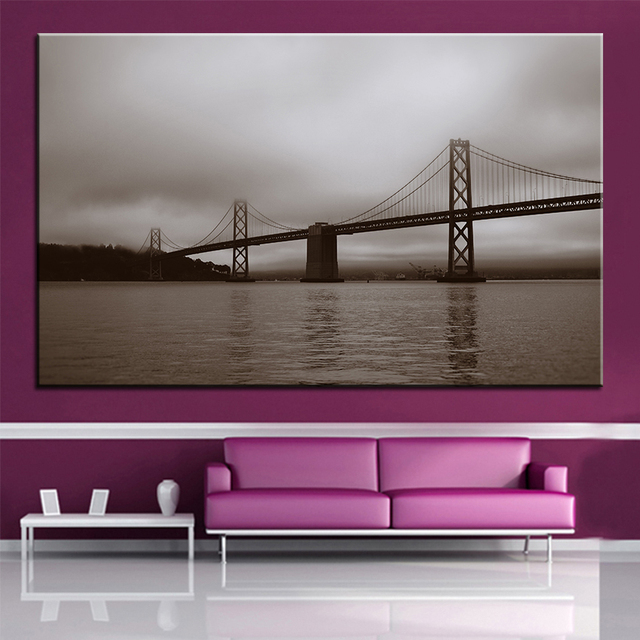 Large Size Printing Oil Painting Bay Bridge San Francisco Wall Painting Decor  Wall Art Picture For