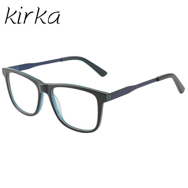 788c38d55620 Kirka Men Green and Black Color Square Acetate Eyeglasses Frame Computer  Optical Glasses Frame For Study