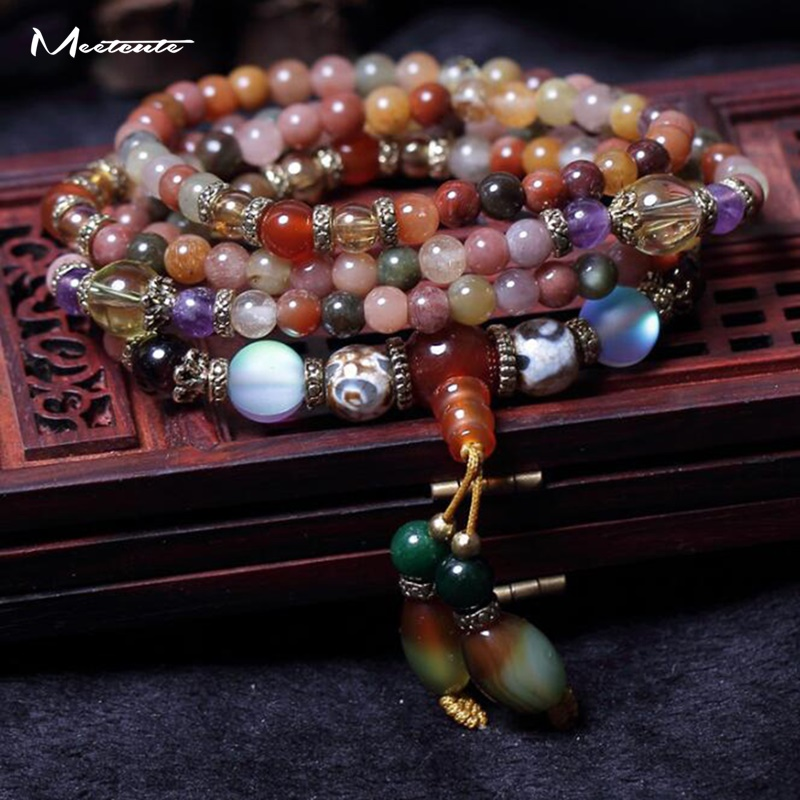 Meetcute 5MM Muilti Color Natural Crystal Bracelets For Men Woman 108 Beads Bracelet & Bangles Jewelry Buddhist Prayer