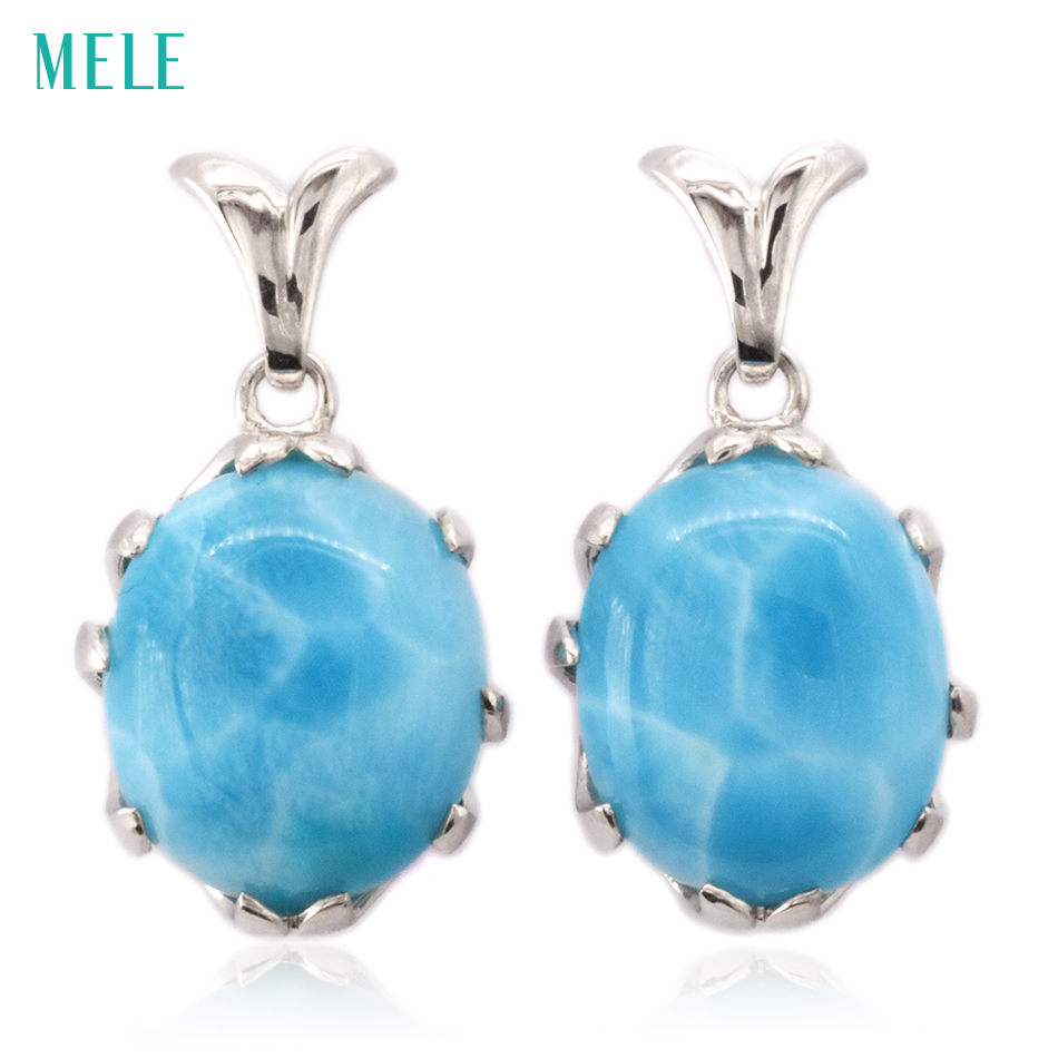 Natural larimar sterling silver earrings,oval 12mm*14mm, deep blue color fashion and brief women's earring