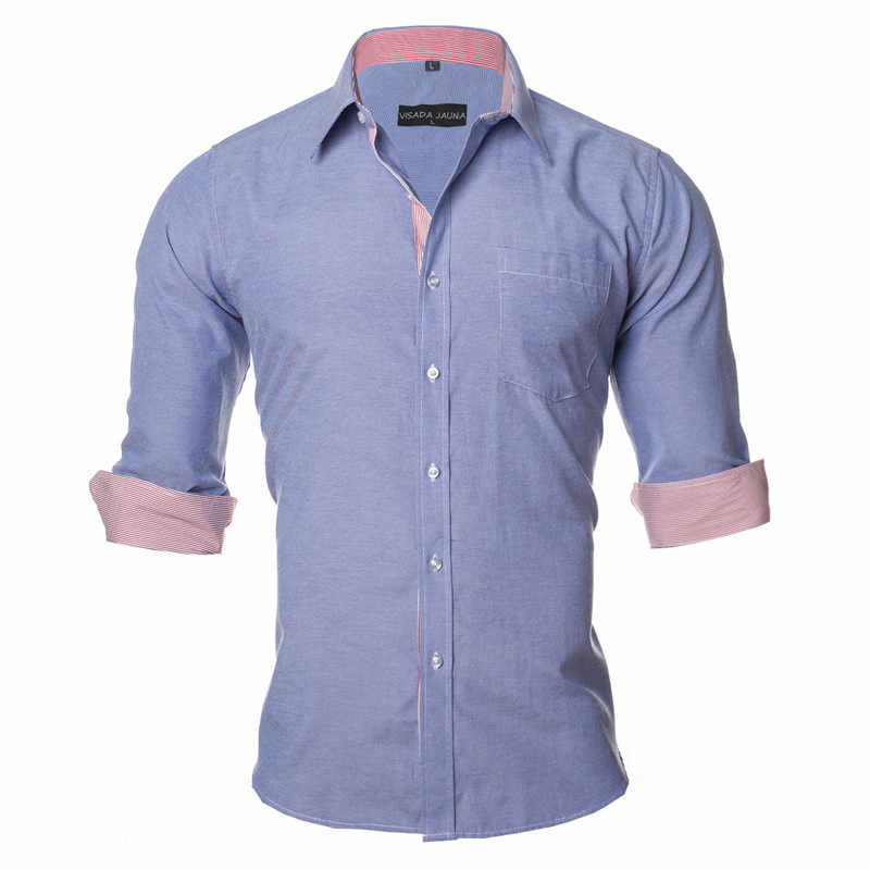 VISADA JAUNA 米国欧州 2XL 無地男性シャツ 2017 カジュアル男性ブランド衣料シュミーズオムビジネスドレス長袖 n1154