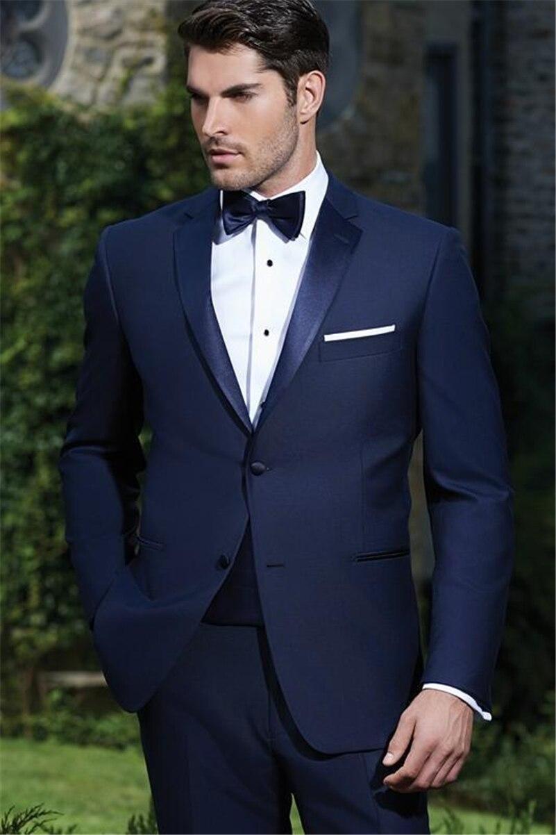 Custom Made Groom Tuxedos TWo Button Groomsmen Notch Satin Lapel Men Wedding Suits Best Mens Suit (Jacket+Pants+Tie+Girdle) B609