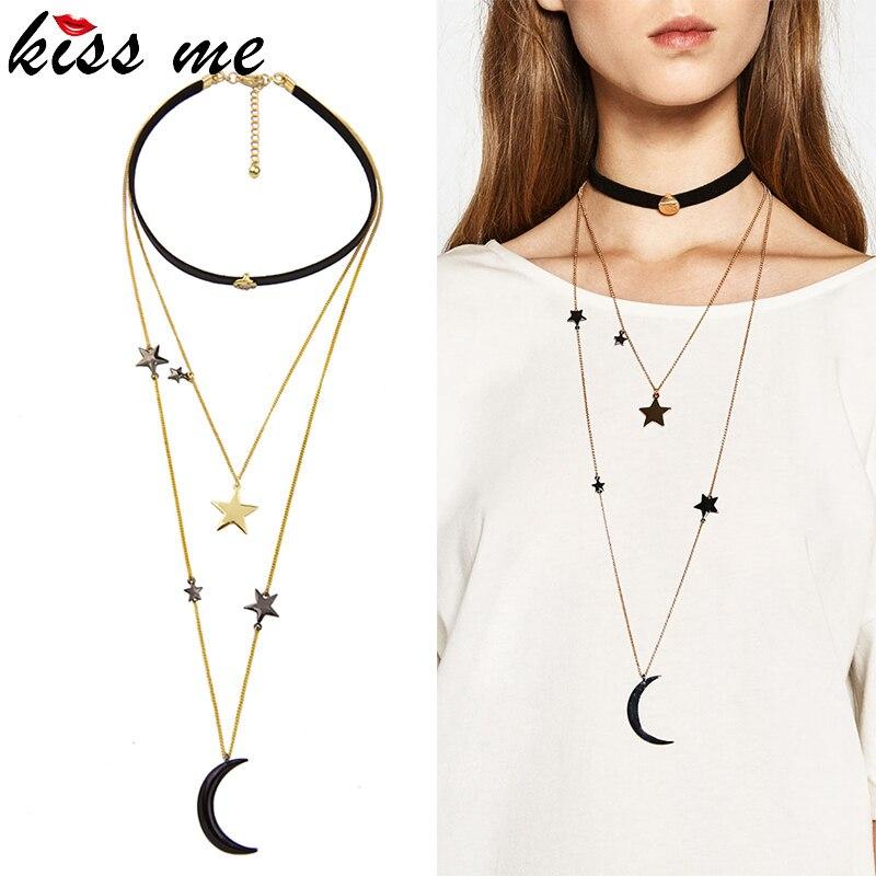 луна, звезды ожерелье