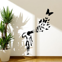 Free Shipping Removable Banksy GirlButterfly Wall Decal Modern Home Sticker Decor Vinyl GW-41