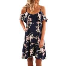 1faa51941a9e (Ship from US) Plus Size 2018 Summer Dress Women Boho Floral Print Cold  Shoulder Spaghetti Strap Mini Dress Sexy Beach Party Dress Vestidos