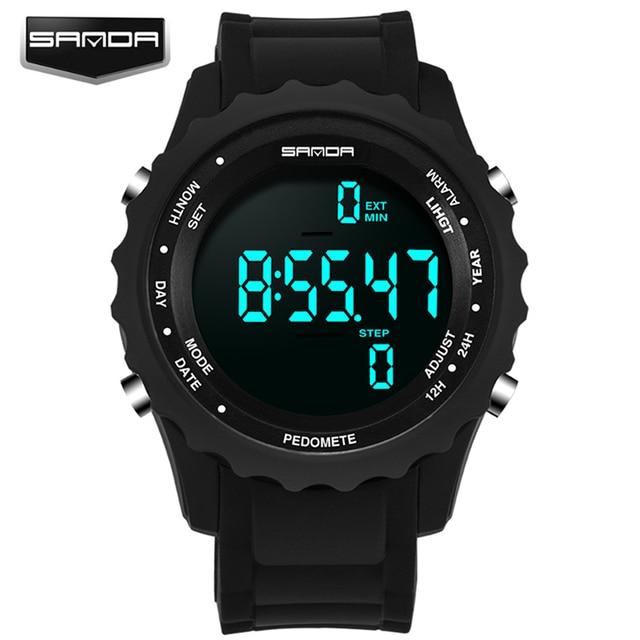 Mens Watches Top Brand Luxury Pedometer Chronograph LED Sport Digital Watch Men Waterproof Wristwatches SANDA Relogio Masculino