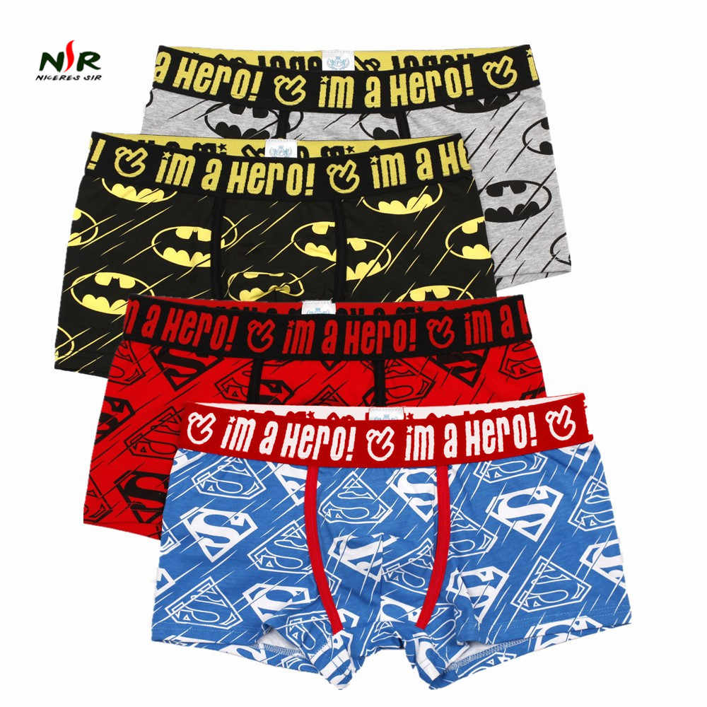 e7ae96fe6b60 PINK HEROES 4 colors /lot Men Underwear Boxers Sexy underpant Cotton Male  Panties Shorts Cartoon