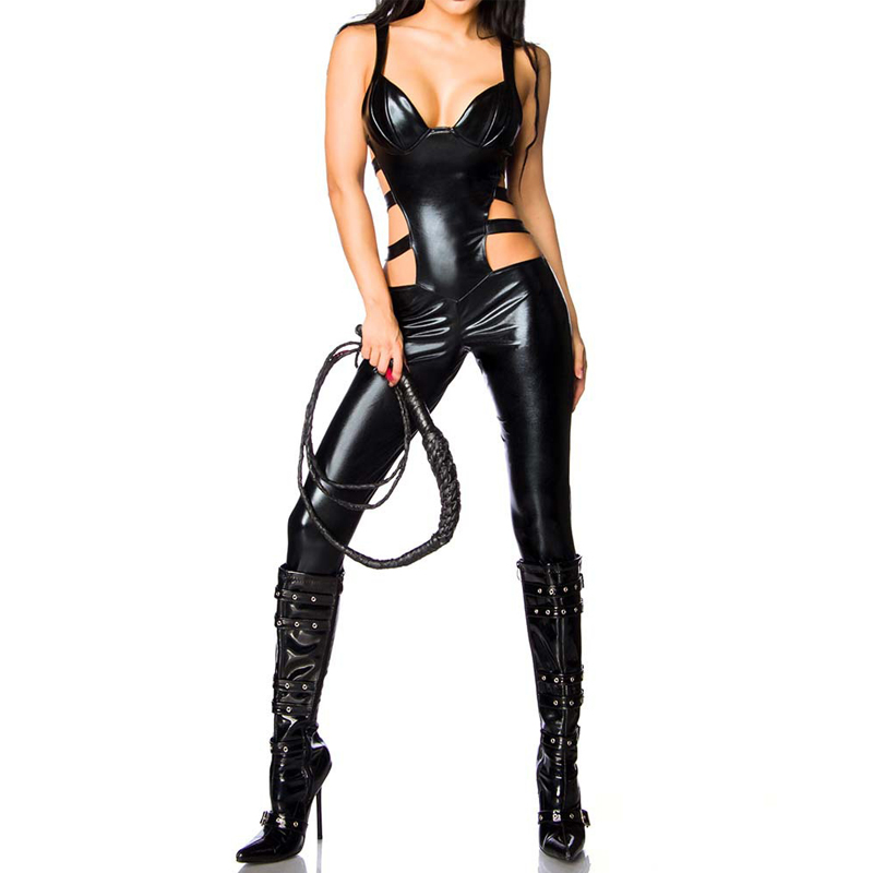 Buy Faux Leather Sexy Bodysuit Women Hollow Black Latex Catsuit Erotic Lingerie Night Crotchless Catsuit Sexy Clubwear Jumpsuit
