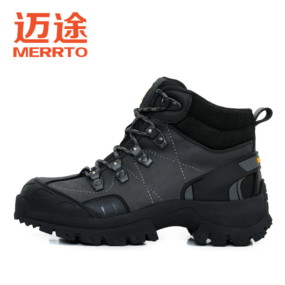 MERRTO Winter Outdoor men's Hiking Trekking Boots Genuine Leather waterproof Tactics Shoes anti-skid camping climbing Sneakers merrto men s outdoor cowhide hiking shoe multi fundtion waterproof anti skid walking sneakers wear resistance sport camping shoe