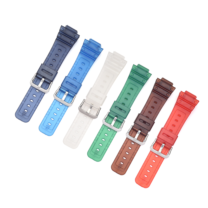 16mm Multicolor PVC Watch Band Strap Fits <font><b>DW</b></font>-5600E <font><b>DW</b></font>-<font><b>5700</b></font> G5600 <font><b>5700</b></font> GM-5610 / 6900 9052 Series Watchband Replace + Tool image
