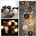 Misturado preto cinza branco 20 PÇS/SET algodão rattan/vime bola luzes cordas de fadas festa de casamento casa jardim decoração do pátio