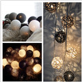 Mixed black gray white  20PCS/SET cotton/rattan wicker ball string lights fairy party wedding home garden patio decor