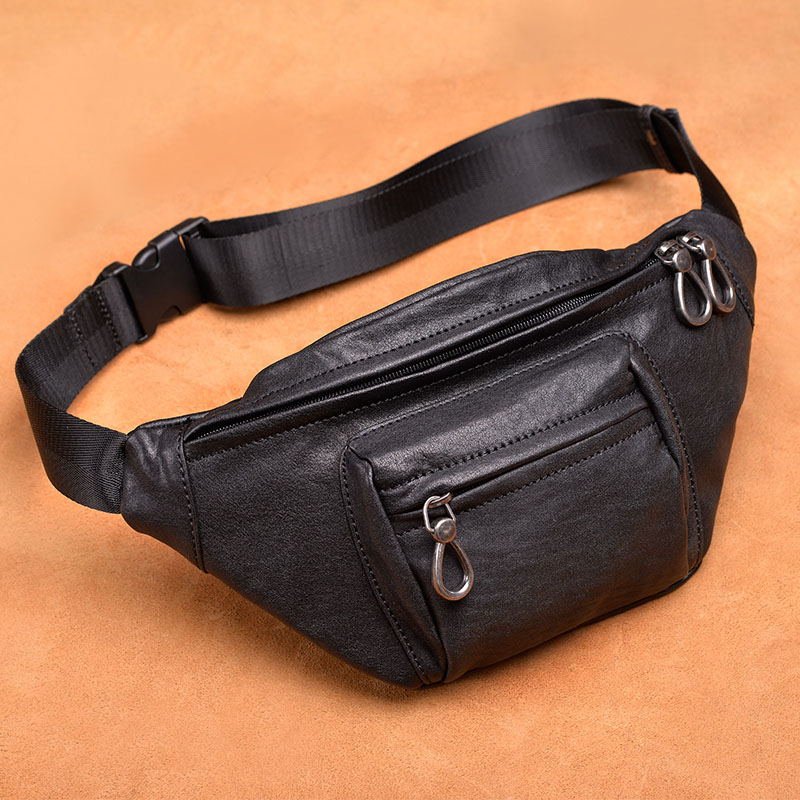 Difenise Genuine first layer cowhide Leather Men's Waist Packs Casual and Fashion man Waist packs Pillow shape High Quality chic quality flamingo and lotus pattern flax pillow case(without pillow inner)