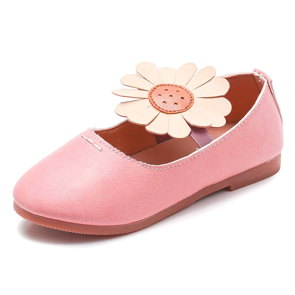 New Children Party Leather Shoes Girls PU Flat Heel Flower Kids Shoes For Girls Single Shoes Dance Dress shoe Pink Spring Autumn