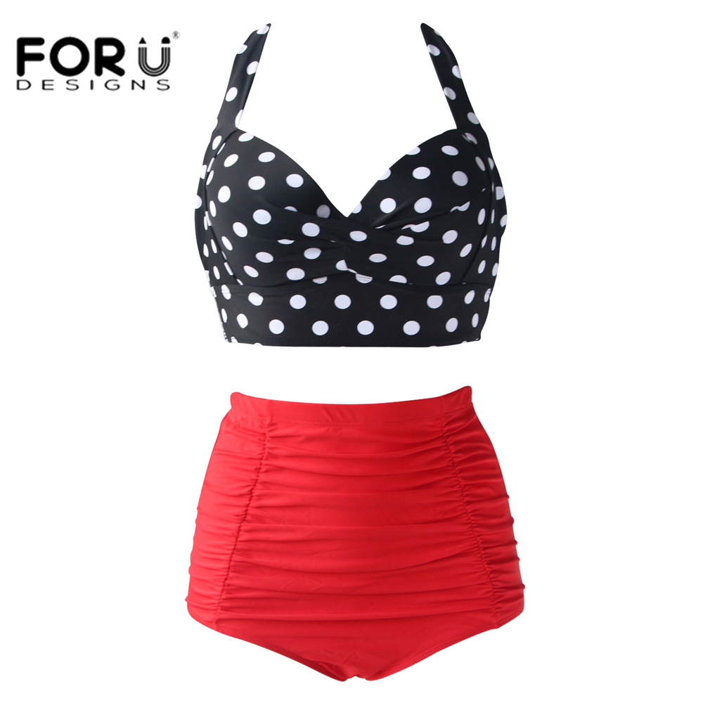 FORUDESIGNS Plus Size Swimwear Women Bikini High Waist Swimsuit 2018 Halter Top Bathing Suits Retro Dot Push Up Bikini Set 4XL hot sale women ladies sexy retro padded push up tassel high waist plus size bikini swimwear swimsuit bathing