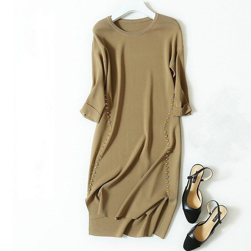 xl Chandail Femmes Irrégulière H Laine Demi Tricot Longue Mode De Mélange khaki M Baguettes Lin Pull Black Robe manchon style l 6w8FS8U7qc