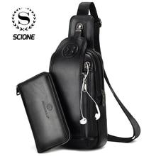 Scione Men's Fashion Chest Bag Theftproof Rotatable Button O