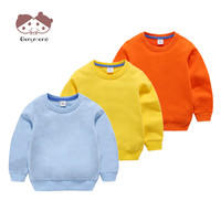 Kids Sweatshirt Spring Children Hoodies 100% Cotton Long Sleeve Pullover Clothes Solid Color Baby Boys Girls Outerwear Clothing