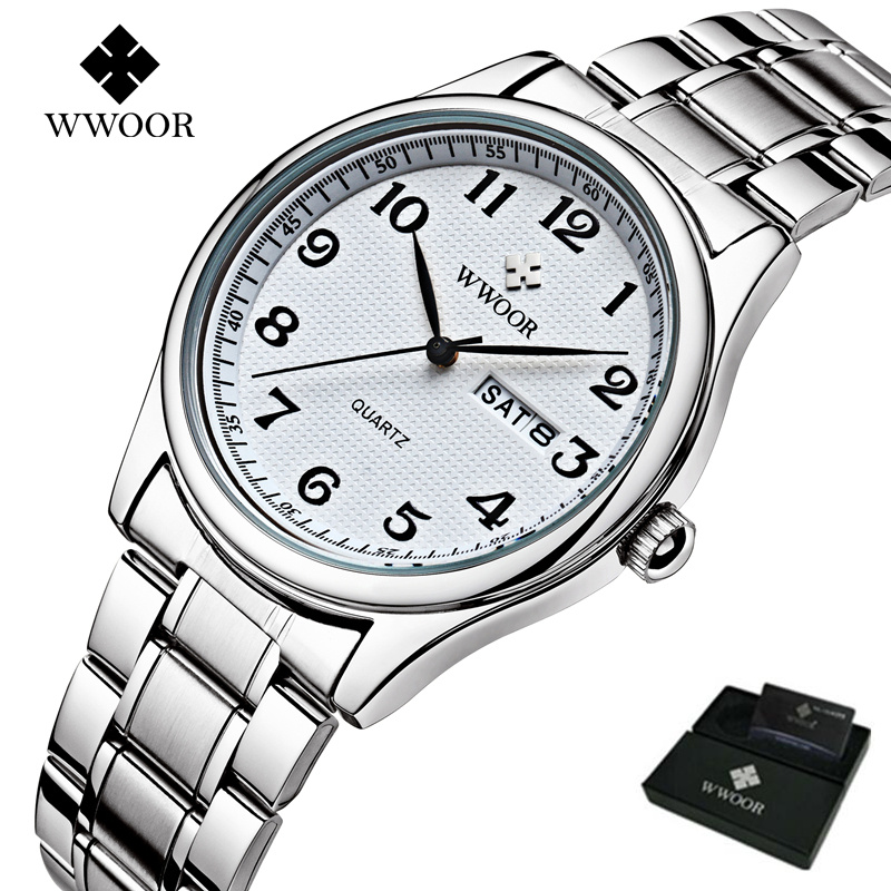Original Mens Watch Brand WWOOR Auto Date Steel Sport Wristwatch Relojes Dress Men Casual Watches With