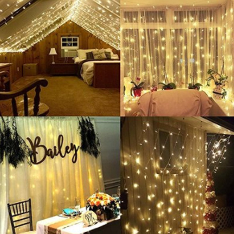 Image 5 - EU US Plug 3m*3m 300 LED String Fairy Curtain Light Garland Christmas Festival Lights Wedding Party New Year Decorative Lights-in LED String from Lights & Lighting on