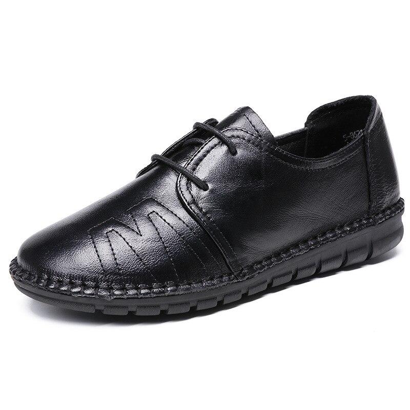 Casual 35 Noir Appartements La Femmes Plat À 40 Chaussures Travail Véritable rouge 2018 Main Nouveau Bout En Cuir Taille Printemps Plus Rond Conduite qHS10vxqw