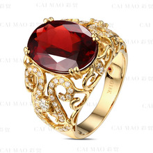 CaiMao 5.1ct Natural Pink Tourmaline & 0.60ct Diamond 18k Yellow Gold gemstone engagement ring Fine Jewelry