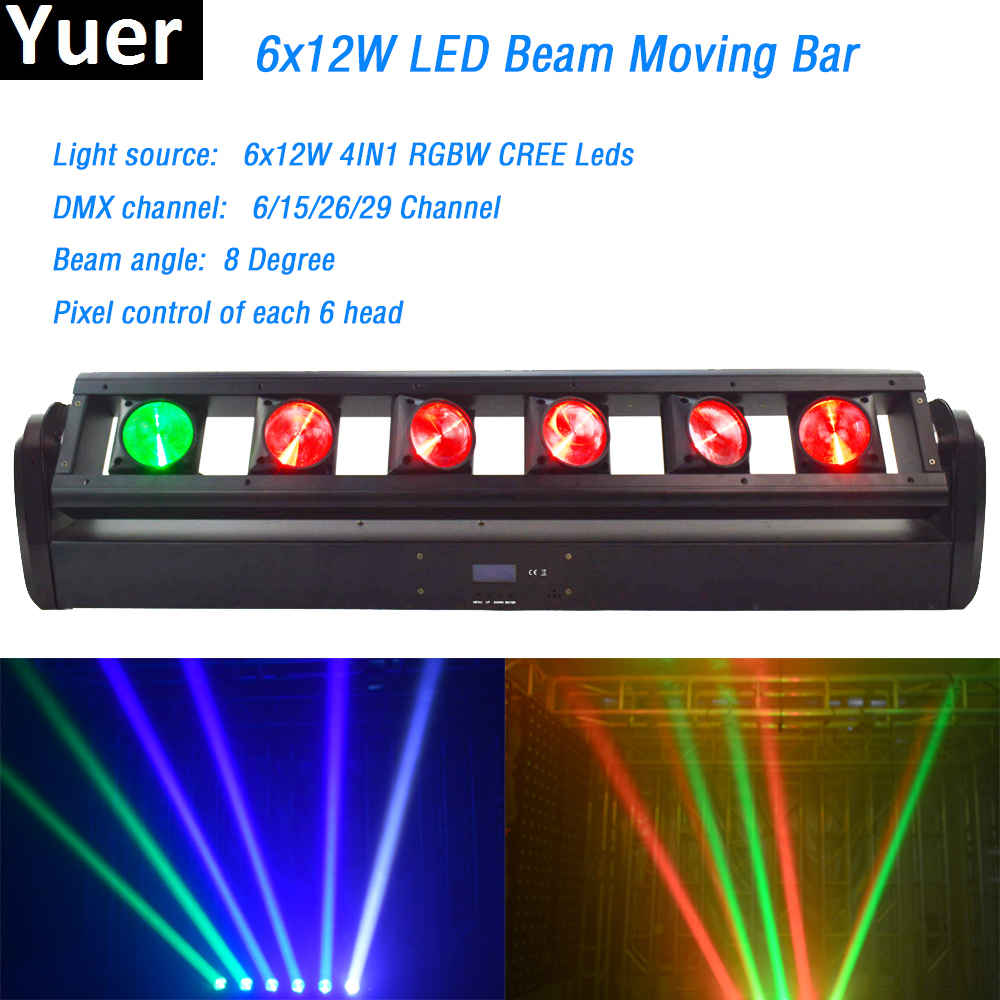 6x12W RGBW 4in1 LED Beam Moving Head Bar Light CREE Leds 8 degree Beam angle DMX512 Wedding Party DJ Disco nightclub stage light