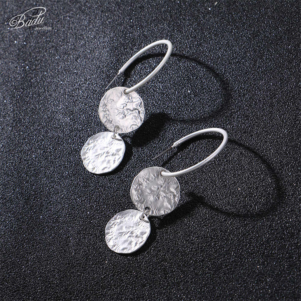Badu Silver Hoop Earring Women Vintage Hammered Metallic Earrings Punk Style Fashion Jewelry Champagne Color Wholesale