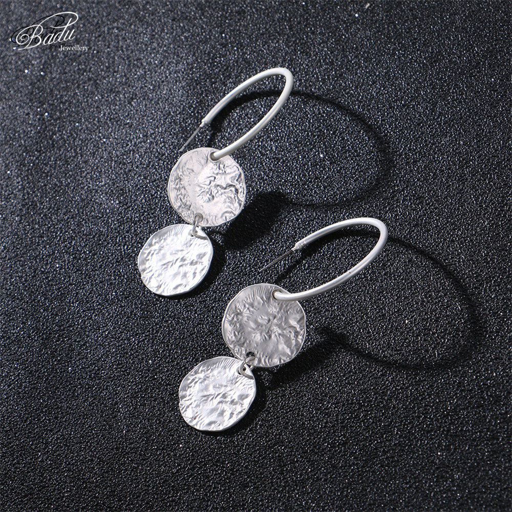 Badu Hoop Earring Women Vintage Hammered Metallic Earrings Punk Style Fashion Jewelry Champagne Color Wholesale