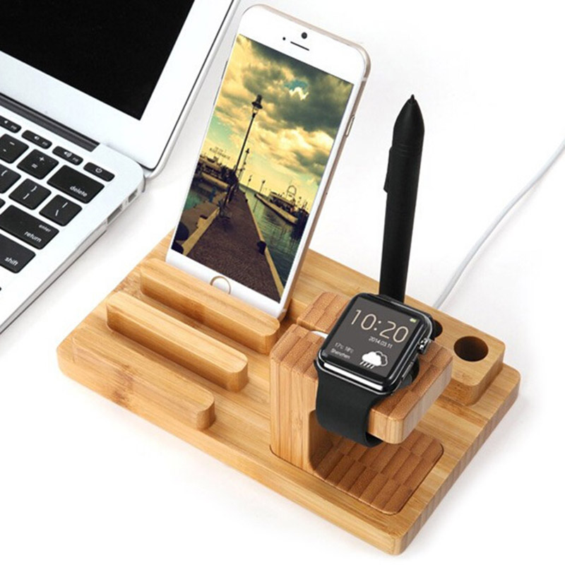 Wooden Charging Dock Cradle Stand For Phones And Tablets