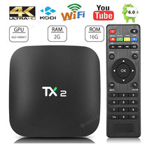 2 GB 16 GB Rockchip RK3229 Android 6.0 TV BOX Soporte H.265 4 K BT2.1 60tps H.265 2.4 GHz WiFi Media Player TV Box TX2 R1 R2