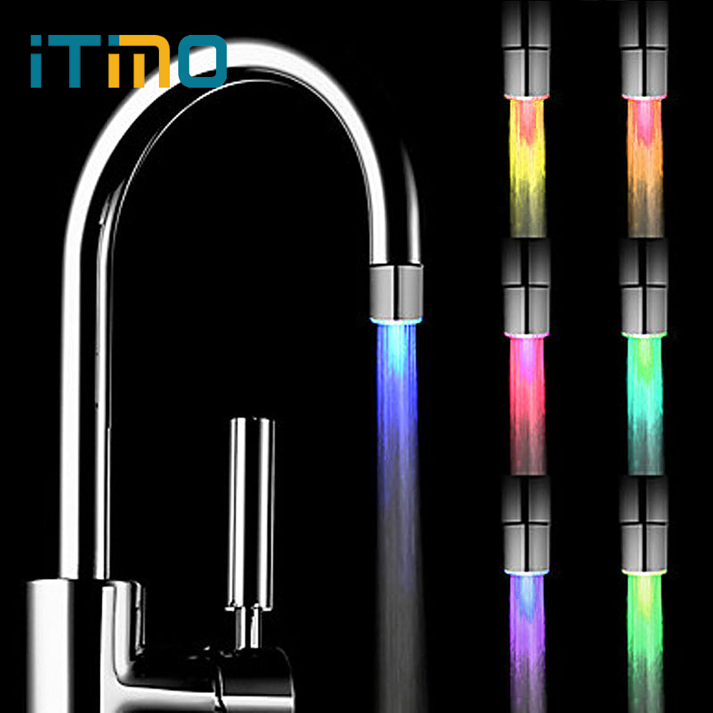 iTimo LED Water Faucet Stream Light 7 Colors Changing Glow Shower Tap Head Kitchen Faucet Tap Lamp Kitchen Accessories