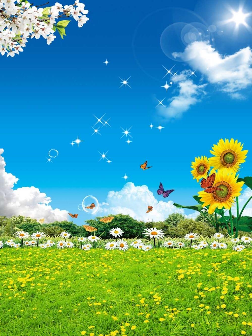 8x8ft clouds blue sky butterfly sunflowers field grass for Immagini sfondo desktop primavera