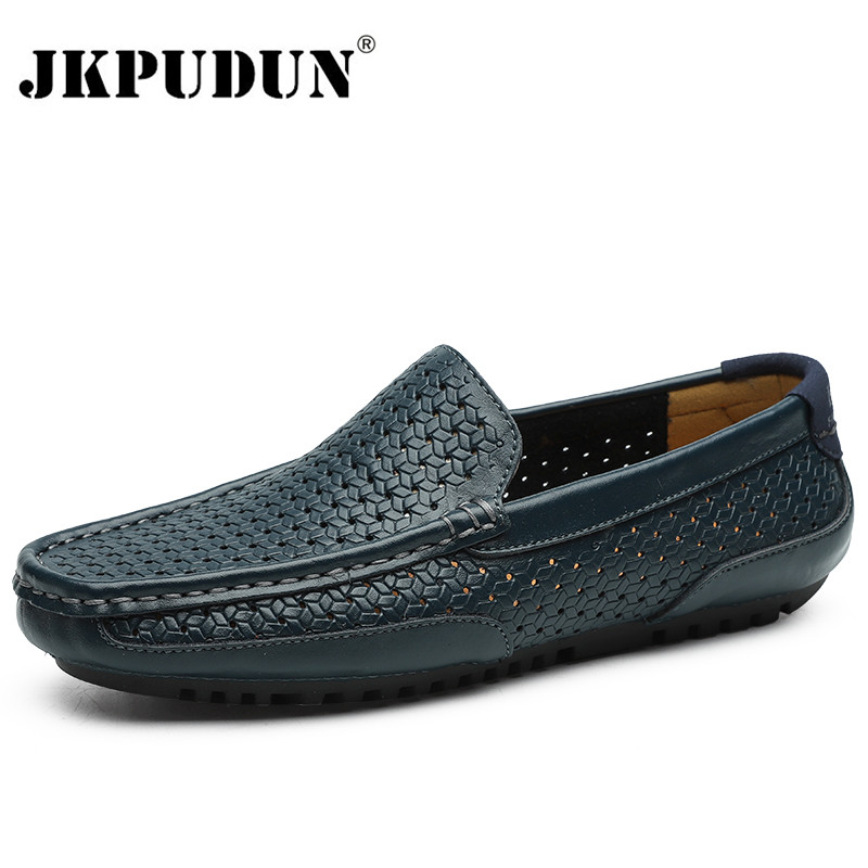 Summer Men Casual Shoes Luxury Brand Genuine Leather Mens Loafers Moccasins Hollow Out Breathable Slip On Driving Shoes JKPUDUN