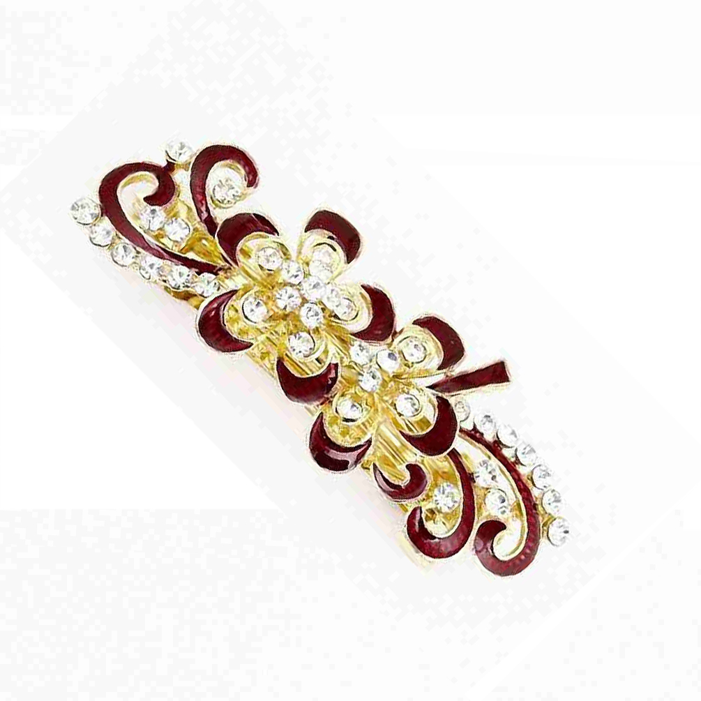 Hot Bling Rhinestones Decor Swirl Floral French Hair Clip Red Gold Tone