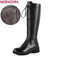 MORAZORA/Оптовая цена натуральная кожа женские сапоги на шнуровке Обувь на квадратном каблуке зимние сапоги до колена высокие сапоги женские м