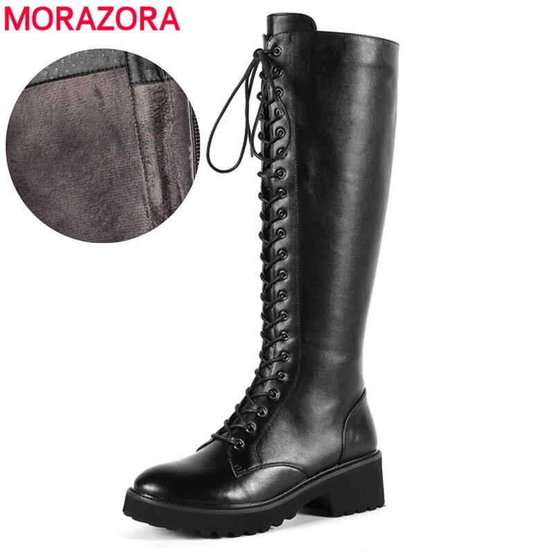MORAZORA prix de Gros véritable en cuir bottes femmes à lacets carré talon hiver genou haute bottes dames robe moto bottes
