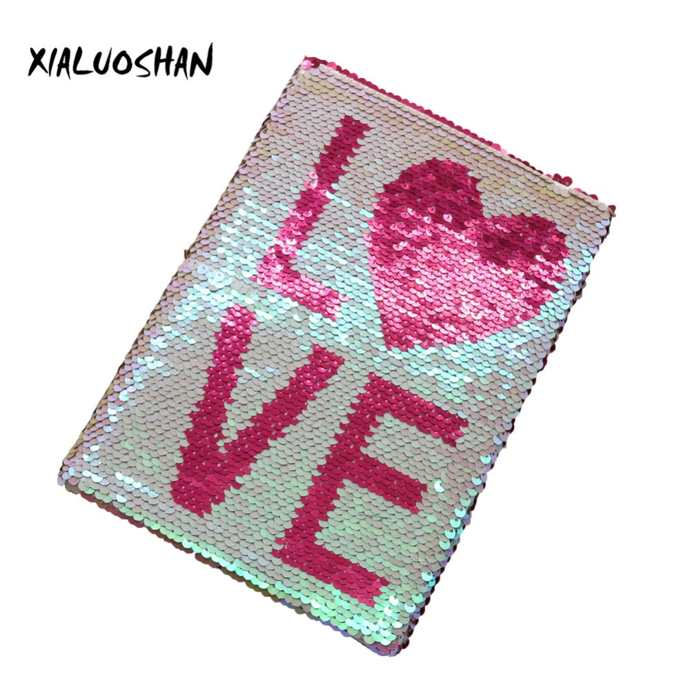 New Brand Creativity LOVE Character Double-sided Sequins Notebook Daily Notepad Exquisite Office Stationery Student Gift