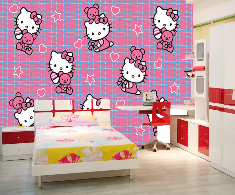 Wholesale Pink Hello Kitty Cats 3d Photo Murals For Child Room Baby Girls Room And Bedding