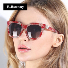 R.Bsunny Fashion polarized women sunglasses brands vintage Square oversized HD lens Sun glasses Gradient oculos de sol feminino
