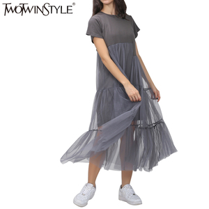 Image 3 - TWOTWINSTYLE Summer Korean Splicing Pleated Tulle T shirt Dress Women Big Size Black Gray Color Clothes New Fashion 2020