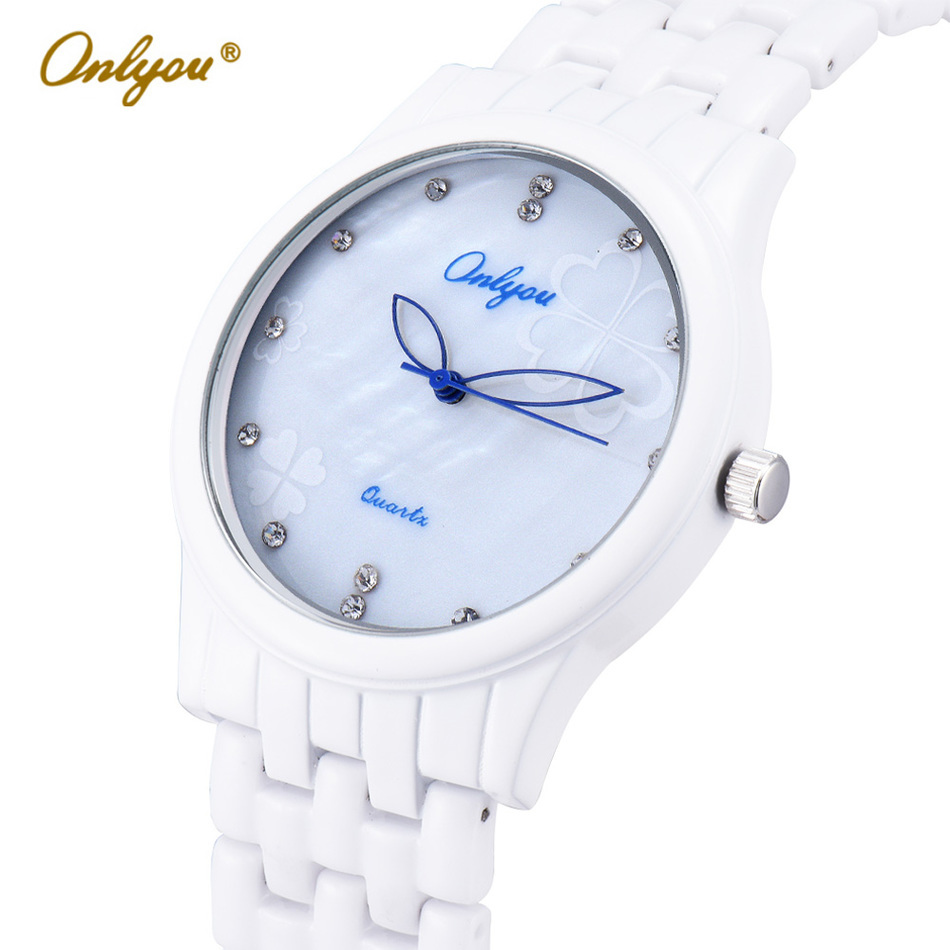 Onlyou Brand Quartz Ceramic Watches Women Men Wristwatches Fashion Casual Male Female White Pink Ladies Dress Watch Clock 8852