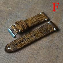 Onthelevel Leather Watch Band Handmade Vintage Strap Stitching Design Wristband Calfskin Metal Buckle #B