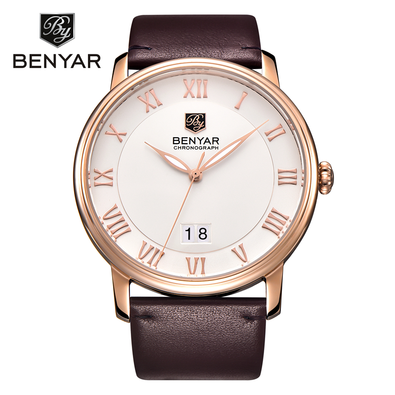 Relogio Masculino 2016 BENYAR Mens Watches Top Brand Luxury Calendar Genuine Leather quartz-watch Fashion Casual Men Watch new 2016 nary watches men top brand fashion watch quartz watch male relogio masculino calendar watches men s casual wrist watch