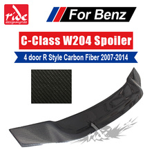 High-quality Carbon Fiber R Style Rear Trunk Spoiler For Mercedes Benz C Class W204 C63AMG C180 C220 C250 2007-2014 4 Door Sedan carbon fiber rear roof spoiler lip for mercedes benz s class w221 s63 amg sedan 4 door 2007 2012 car styling